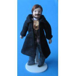 Herr Mann mit Bart schwarzem Mantel Jacke Puppe für das Puppenhaus Miniatur 1:12