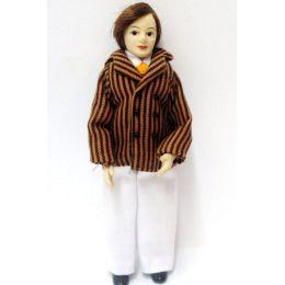 Herr Mann mit gestreifter Jacke und weisser Hose Puppe für das Puppenhaus Miniatur 1:12