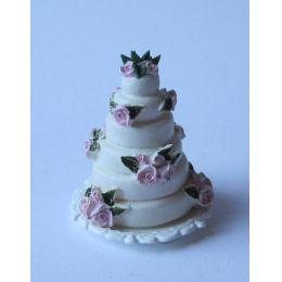 Hochzeitstorte mit Rosen  Puppenhaus Dekoration Miniatur 1:12
