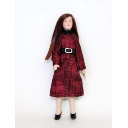Junges Mädchen Girl dunkelrotes Kleid Puppe für Puppenhaus Miniatur 1:12