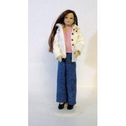 Junges Mädchen Girl lange Haare Puppe für Puppenhaus Miniatur 1:12