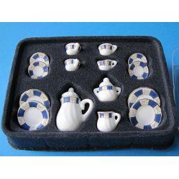 Kaffeeservice Porzellan blau  17 Teile für Puppenhaus Miniatur 1:12
