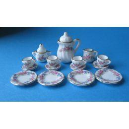 Kaffeeservice Porzellan dezentes Rosendekor 17 Teile für Puppenhaus Miniatur 1:12