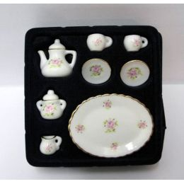 Kaffeeservice  Teeservice Rosenmuster 10-teilig - Miniatur 1:12 für Puppenhaus