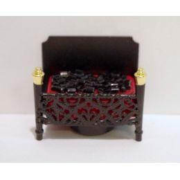 Kamin LED beleuchtet schwarz für Puppenhaus Möbel Wohnzimmer Miniatur 1:12