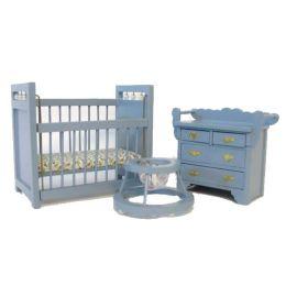 Kinderzimmer  3 teilig modern Puppenmoebel für das Puppenhaus Miniaturen 1:12