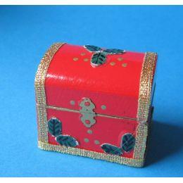 Kiste Truhe mit Spielzeug weihnachtliche Dekoration im Puppenhaus Miniatur 1:12