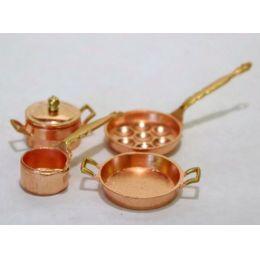 Kochtopf Pfannen Set  5 tlg. Metall für die Puppenhaus Küche Miniaturen 1:12