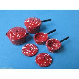 Kochtopf Set  8 tlg. Metall für die Puppenhaus Küche Miniaturen 1:12