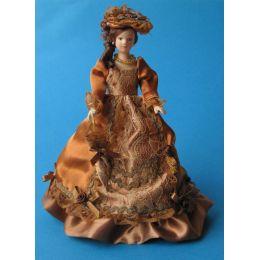 Lady Dame mit Schirm Puppe für die Puppenstube Miniatur 1:12