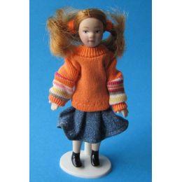 Mädchen mit Zöpfen 11 cm gross  Puppe für Puppenhaus Miniatur 1:12