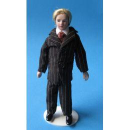 Mann Herr im gestreiften Anzug Puppe für die Puppenstube Miniatur 1:12
