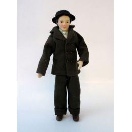 Mann Herr mit Hut im Anzug Puppe für die Puppenstube Miniaturen 1:12