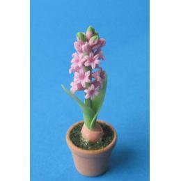 Mini Hyazinthe rosa im Blumentopf Puppenhaus Dekoration Miniatur 1:12