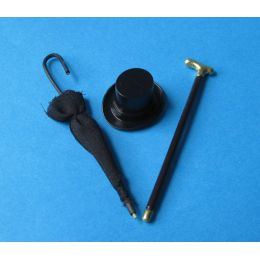 Mini Schirm Gehstock Zylinder Puppenhaus Möbel Wohnzimmer Miniaturen 1:12