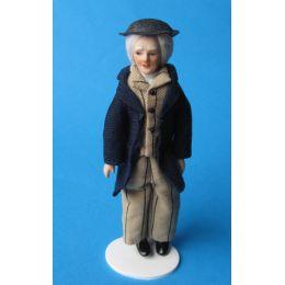 Opa mit Hut im Anzug Puppe für  Puppenstube Miniatur 1:12