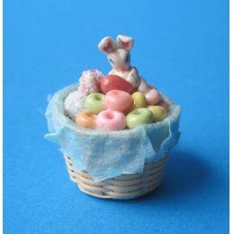 Osterkorb mit bunten Bonbon und Osterhase Puppenhaus Dekoration Miniaturen 1:12