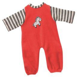 Overall Strampelanzug rot beige Puppenkleidung für 24-26 cm Puppen Schwenk