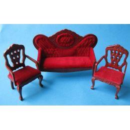 Polstergarnitur dunkelrot 3 tlg. Sofa  2 Sessel Puppenhausmoebel Miniaturen 1:12