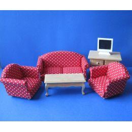 Polstergarnitur rot Sofa, Sessel Tisch, Kommode  Puppenmoebel Miniaturen1:12