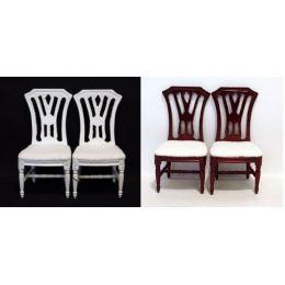 Polsterstuehle 2er Set  weiss oder braun Puppenhaus Möbel Miniaturen 1:12