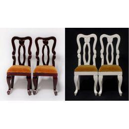 Polsterstühle 2er Set  weiss oder braun Puppenhaus Möbel Miniaturen 1:12