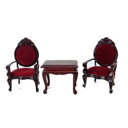Polsterstuehle und Tisch 3 Teile braun/rot Puppenhausmöbel  Miniaturen 1:12