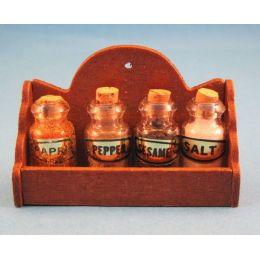 Puppenhaus Gewuerzregal inkl.4 Flaschen Kuechen Moebel Miniaturen 1:12