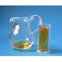 Puppenhaus Mini Saftkrug mit Glas  Dekoration Miniaturen 1:12