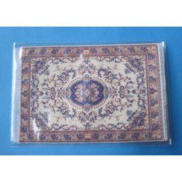 Puppenstuben Teppich beige blau 16 x 10 cm Puppenhaus Möbel Miniatur 1:12