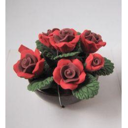 Rote Rosen in einer Pflanzschale Puppenhaus Blumen Miniatur 1:12