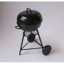 Rundgrill American Barbeque Grill schwarz Metall  Puppenhaus Miniaturen 1:12
