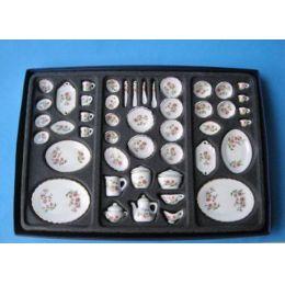 Speiseservice und Kaffeeservice Porzellan Anemone 50 Teile Puppenhaus Miniatur 1:12