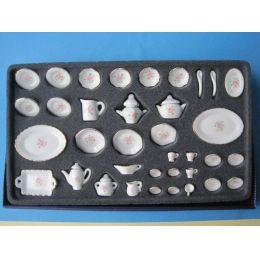 Speiseservice und Kaffeeservice Porzellan Rose 36 Teile Puppenhaus Miniatur 1:12