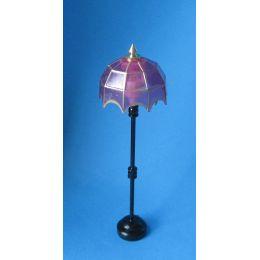 Stehlampe rosa Schirm LED Puppenhaus Beleuchtung Miniatur 1:12