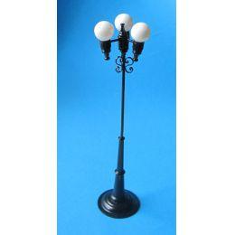 Strassenlaterne Dreifachkugel schwarz LED Puppenhaus Beleuchtung Miniaturen 1:12