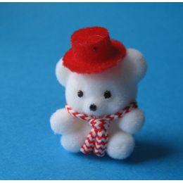 Teddybär weiss mit Hut für das Puppenhaus Kinderzimmer Miniaturen 1:12