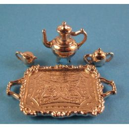 Teeservice Silberfarben 4 Teile für Puppenhaus Miniatur 1:12
