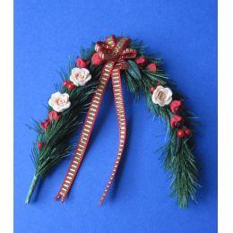 Türgirlande mit Rosen und Schleife weihnachtliche Dekoration im Puppenhaus Miniatur 1:12