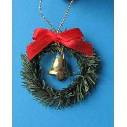 Türkranz mit Schleife und Glocke weihnachtliche Dekoration im Puppenhaus Miniatur 1:12
