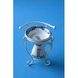 Waschständer mit Krug und Schüssel Badezimmer Miniatur  Ausstattung 3 Teile Puppenmöbel 1:12