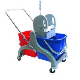 Aura Profi Doppelfahrwagen Reinigungswagen PE, mit Profi Moppresse und 2 x 17 Liter Eimern in blau und rot