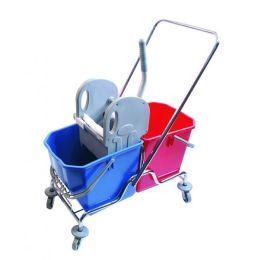 CleanSV® Doppelfahrwagen - Reinigungswagen, verchromt mit Deichsel, Presse und 2 Eimer