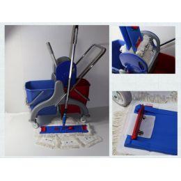CleanSV® Lamo Laschenwischset 40 Kunststoff- Putzwagen, Laschenmop Set 40 cm: 3 Lamops, 1 Lamo Halter, Telskop
