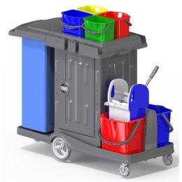 CleanSV® Reinigungswagen PE Kassel Secure, mit abschließbarem Schrank, Müllsackhalter, 2 x 18 L Eimer, 4 x 5 L