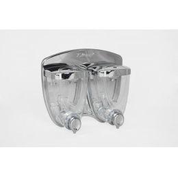 Flüssigseifenspender Doppel 2x 350 ml, Kunststoff, verchromt