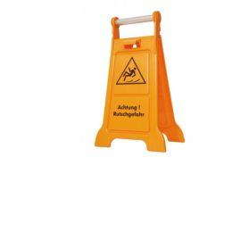 Rutschgefahr Schild gelb mit Aufschrift Achtung Rutschgefahr und Bild aus Kunststoff mit Metallgriff