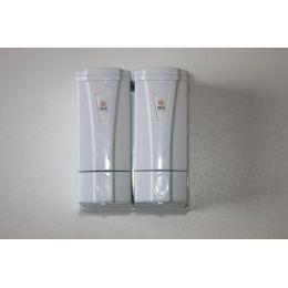 Seifenspender Wall DOPPEL mini für 2x250 ml weiss, aus Kunststoff für flüssig Seife