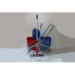 WISCHSET Kunststoff Dofa PE / WISCHMOPP MIT KLAPPHALTER 60CM & 5x MOPPBEZÜGE 60 cm & STIEL