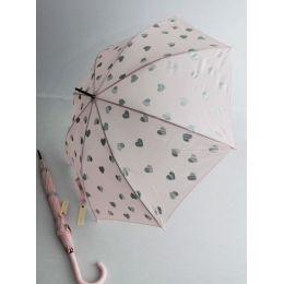 Esprit Regenschirm Stockschirm  für Damen rosa Herzen Langschirm Damenschirm